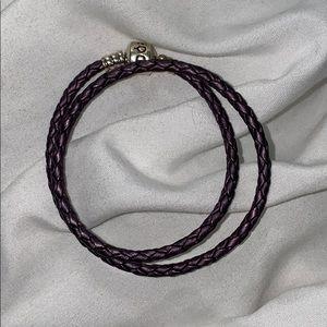 Pandora Purple Braided Double-Leather Bracelet